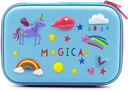 Estuche con diseño de unicornio arcoíris en 3D – Estuche para lápices de colores, grande con compartimentos, bolsa de cosméticos para niños: Amazon.es: Oficina y papelería