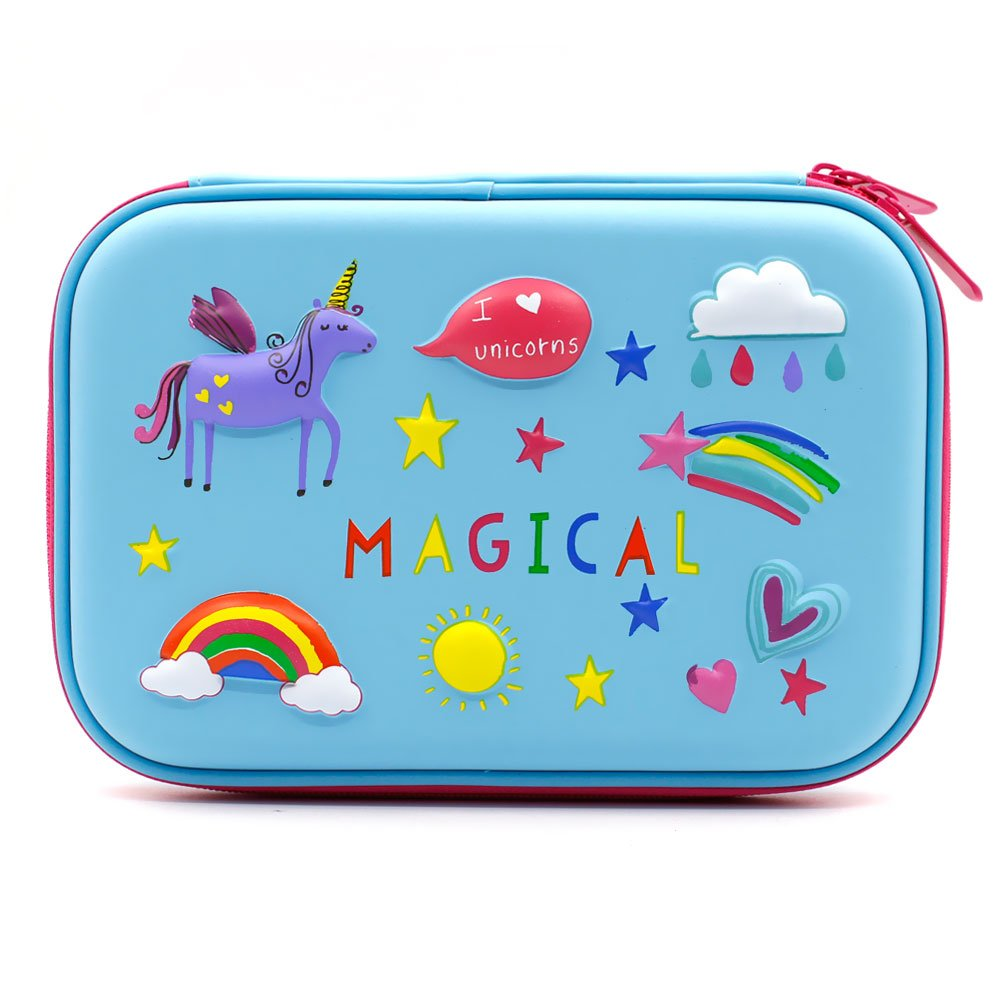 3D Rainbow Unicorn Embossed Hardtop Pencil Case - School Girls Large Colored Pen Holder Box with Compartments - Kids Cute Cosmetic Pouch Bag Stationery Organizer(Light Blue)