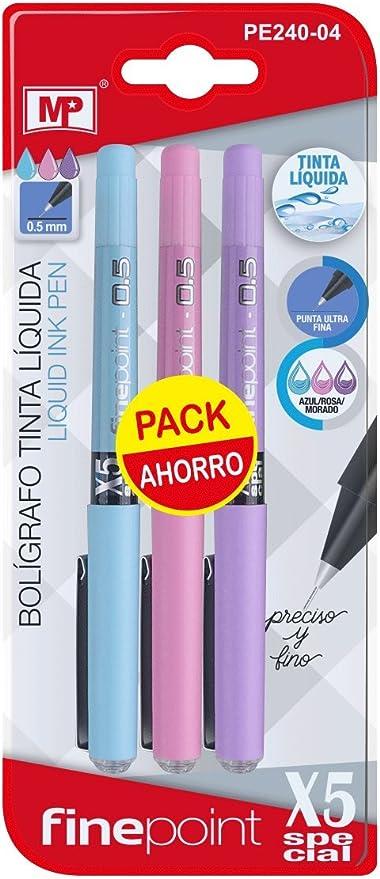 MP PE240-04 - Pack de 3 bolígrafos de tinta líquida, color morado ...