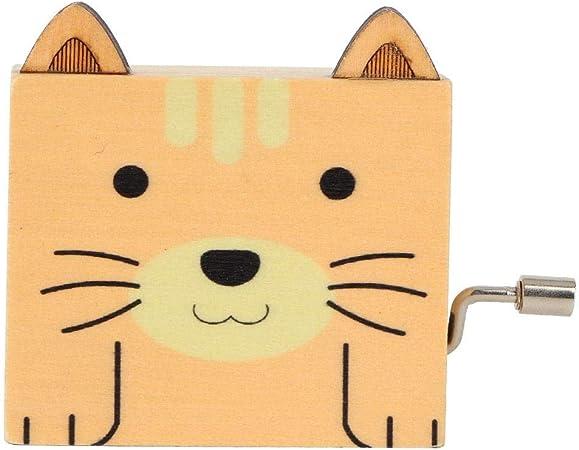 Hilitand Caja de música de manivela de Madera con patrón de Animales de Dibujos Animados Lindo decoración de Escritorio para el hogar Regalo de los niños de Juguete(Cat): Amazon.es: Hogar