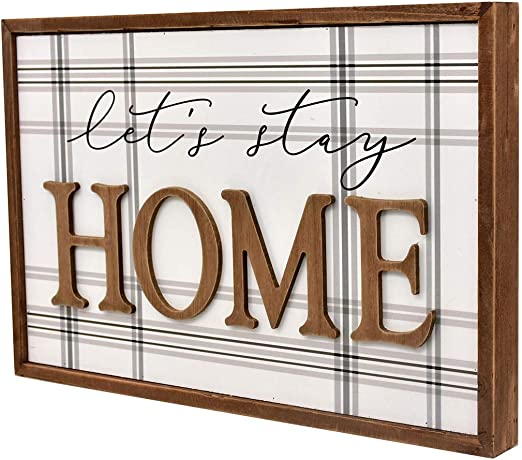 Country Rustic Primitive Wood Framed Galvanized Metal Sign Wall Plaques