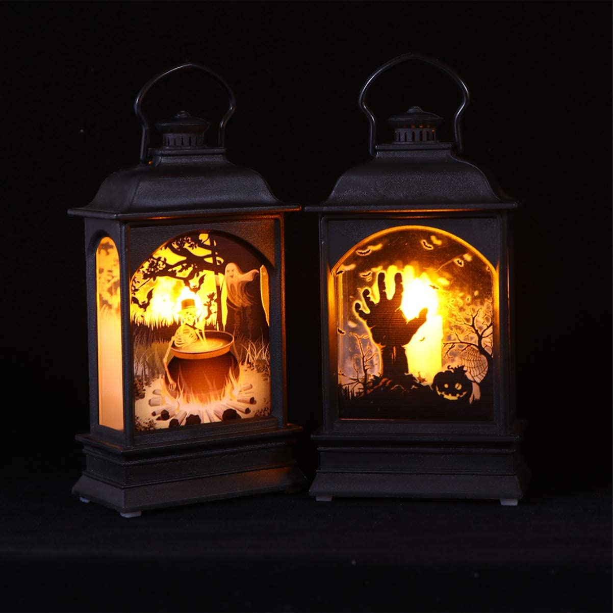 Halloween Portable Lamp Lights Skull Flat Decor Light and Ghost Hand Decor Lamp for Festive Party Indoor Decor Supplies 2PCS