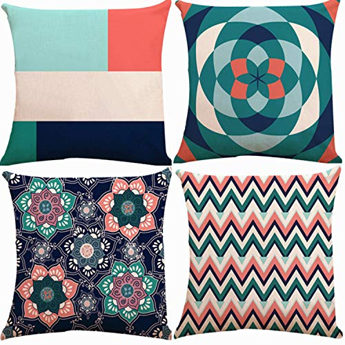 Teal Mix - Decorative Throw Pillow Covers 18 x 18 Inch Double Side Design,ZUEXT Set of 4 Geomtric Cotton Linen Indoor Outdoor Pillow Case Cushion Cover for Car Sofa Home Decor(Navy Aqua Coral Teal,Mix and Match)