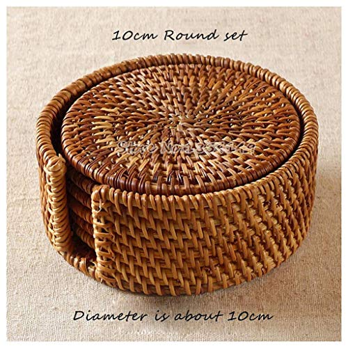 - Viet's Hand Rattan Placemats - Handmade Tea mats Rattan Coasters Saucer Iron Pot Heat Insulation pad placemats for Table Bamboo teapot Tea Set - 10cm Round Single