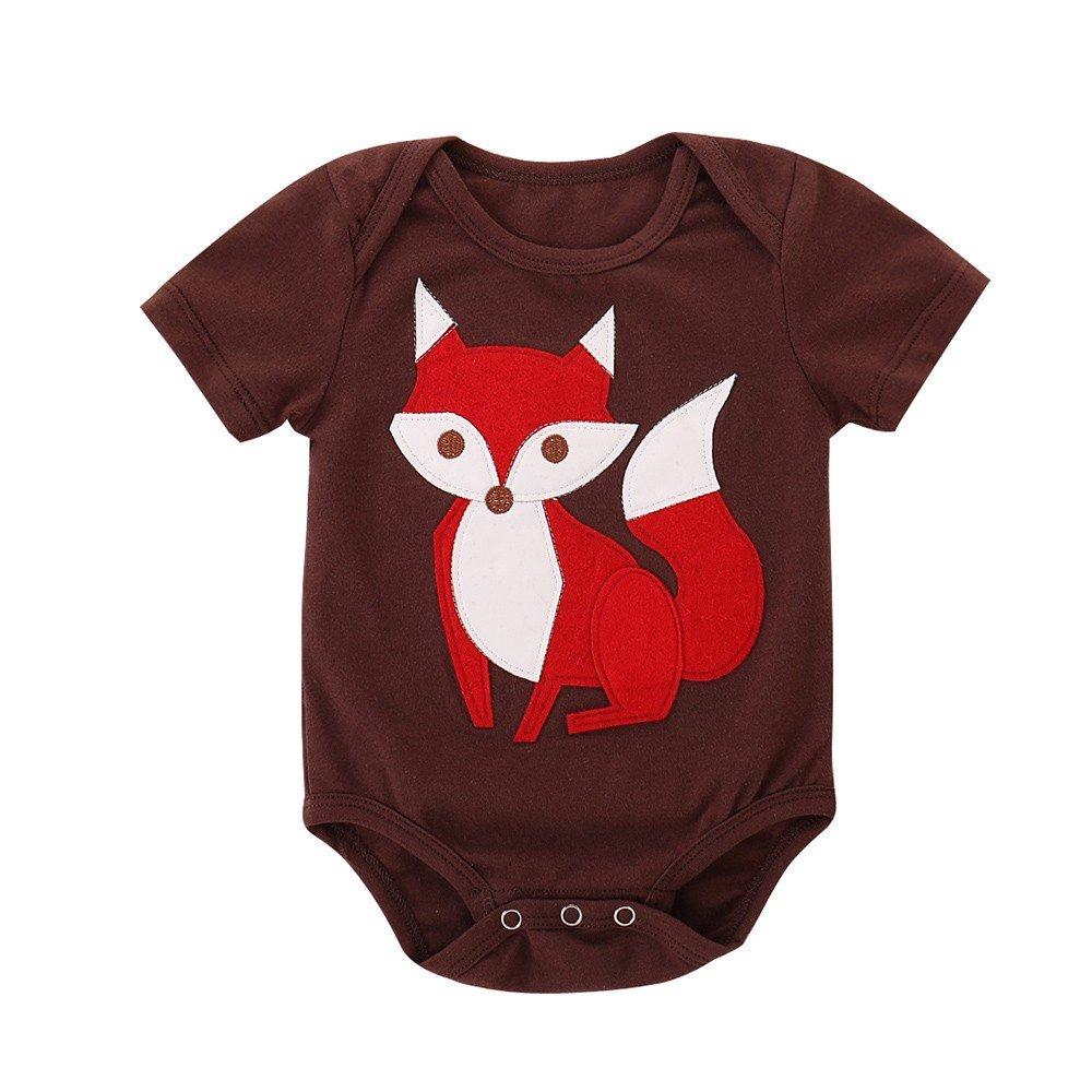 HARRYSTORE Baby Kurzarm Fuchs Cartoon Print Sleeve Einteiliger Badeanzug Kleinkind Baby Jungen Mädchen Kurzarm Fuchs Cartoon Print Strampler Overall Kleidung