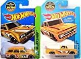 datsun wagon hot wheel - Summer Yellow Hot Wheels Truck & Wagon Set - Datsun Bluebird 510 & Custom '62 Chevy Hot Wheels HW City Garage Surf Shop Patrol 2015 IN PROTECTIVE CASES