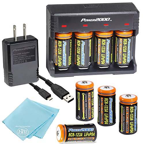 8 Pack of 1200mAh CR-123A LiFePO4 Lithium Rechargeable Batteries and Charger Kit with USB Adapter - Compatible with Many Security System Cameras, LED Flashlights, and Lasers