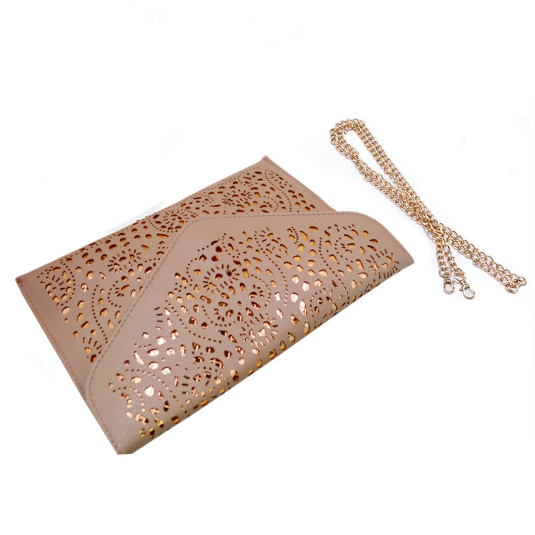 Mily Hollow Out Flower Envelop Clutch Chain Tote Shoulder Bag Handbag Beige by Mily (Image #6)