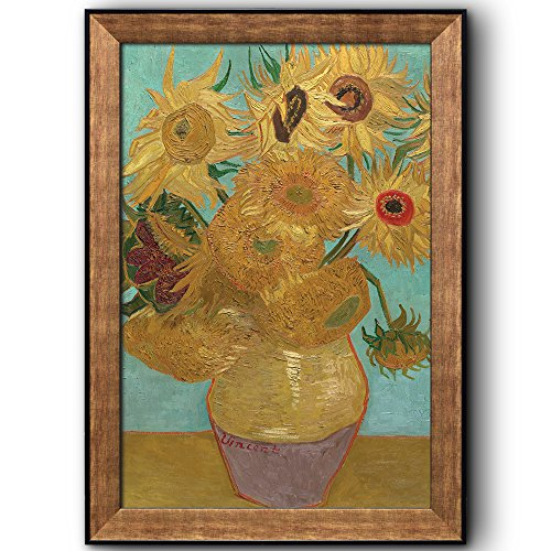 (wall26 - Still Life: Vase with Twelve Sunflowers by Vincent Van Gogh - Oil Painting, Impressionist, Artist - Framed Art Prints, Home Decor - 16x24 inches)
