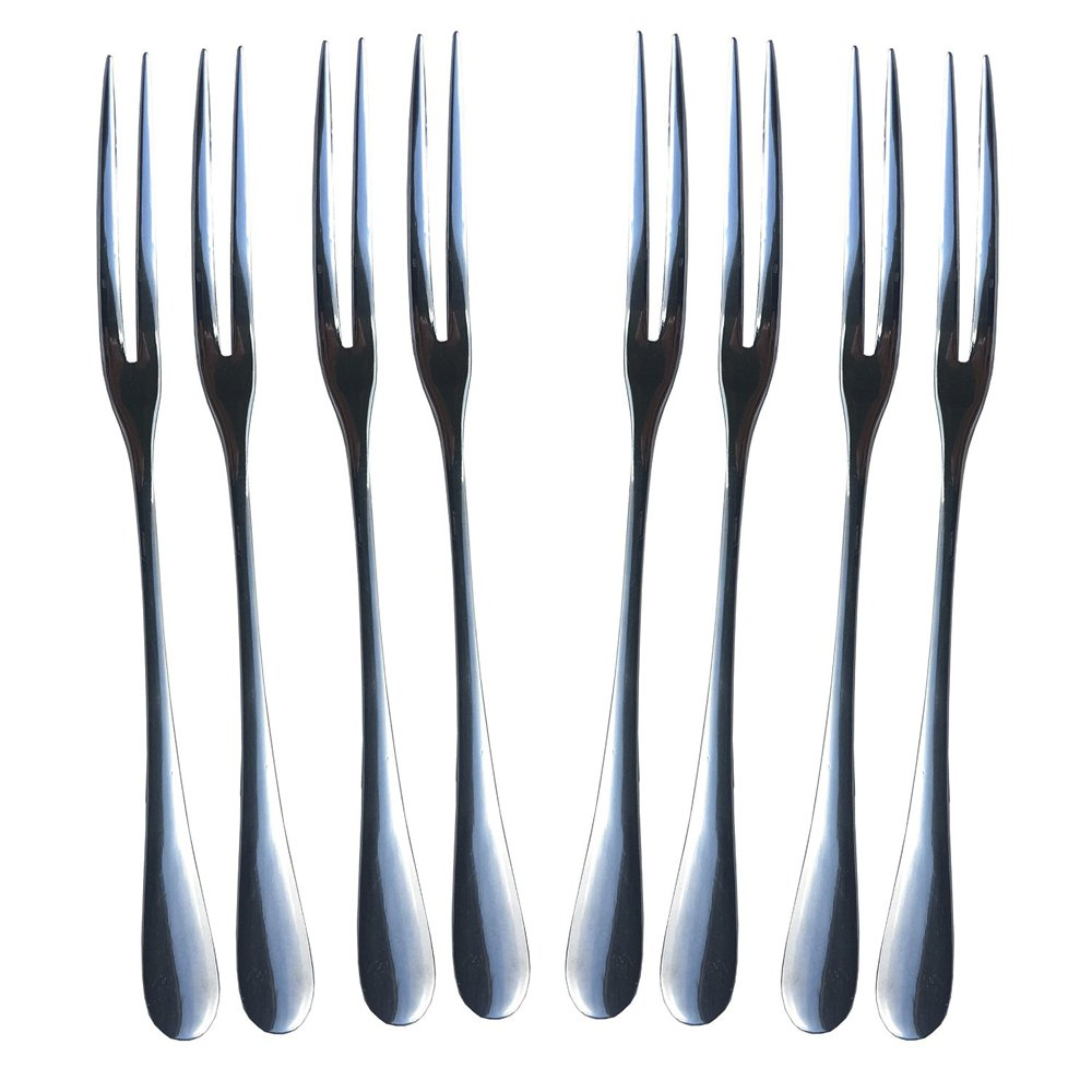 Bistro Appetizer and Fruit Forks - Set of 8 LEYOSOV Stainless Steel Forks Perfect for Cake, Cocktail, Cheese, Escargot, Watermelon, Lobster, Shellfish, Seafood, and More