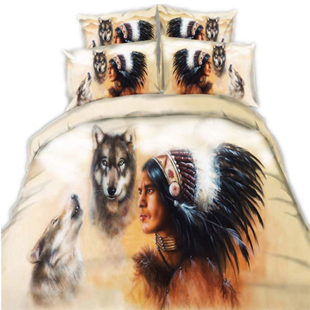 CHAOSE-DEB Indianer und Wölfe und Golden Dragon Bettwäsche Set,Superweiche Polyester-Baumwolle,3-teilig (1 Bettbezug + 2 Kissenbezüge 48x74cm) (Indianer und Wölfe, Single Größe(135x200CM Einzelbett))