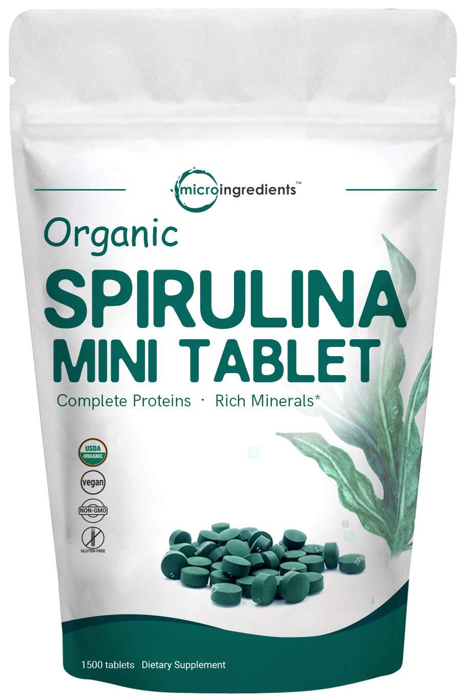 Organic Spirulina 3000mg Per Serving,1500 Tablet, Best Superfoods for Rich Minerals, Vitamins, Chlorophyll, Amino Acids, Fatty Acids, Fiber & Proteins, Non-GMO & Vegan Friendly