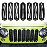 Yoursme Front Mesh Insert Grill Guard Matte Black Clip-in Version Grille Cover Trim for 2007-2016 Jeep Wrangler JK JKU Sports Sahara Freedom Rubicon X Unlimited X 2/4 door (Pack of 7)