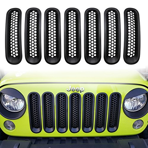 Sports Grille Kit (【Upgrade Matte Black Clip-in Version】Yoursme Front Grill Mesh Grille Insert Guard Kit for Jeep Wrangler JK JKU Sports Sahara Freedom Rubicon X Unlimited X 2/4 door 2007-2015 (7PC/SET))