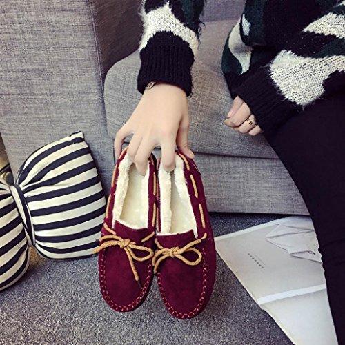 Rond Hiver Doux Appartements Plates Caoutchouc Décontracté En Vin Huichang Chaud Chaussures Femmes w1nIaSU