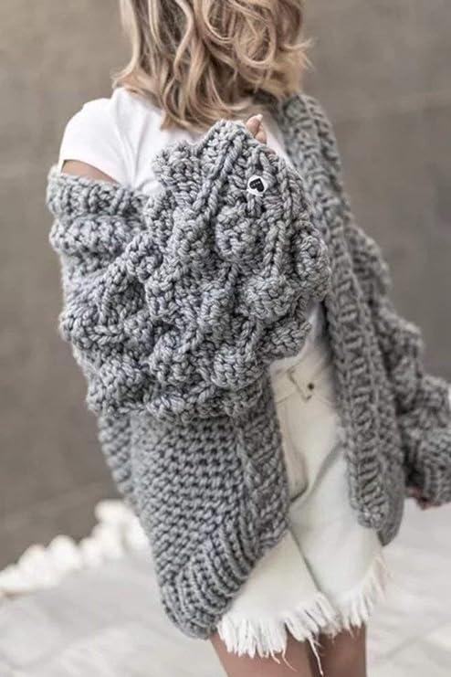 Jerseys Lana Mujer Otoño Hipster Casual Abrigos Color Sólido Manga Larga  Tejer Arriba Top Especial Estilo Suéter Áspero Anchos Moda Joven Outwear  Cómodo ... befe88ffbf66