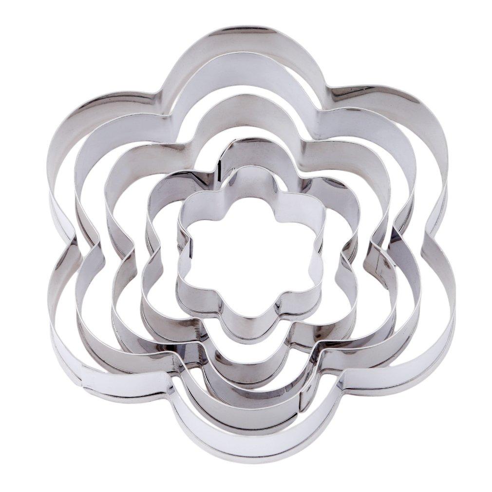 Guangqiステンレススチールハートクッキーカッターセット金型 1.18-8*.15-3.15*0.59inch 24 B078Q6QKSL Flower Shape
