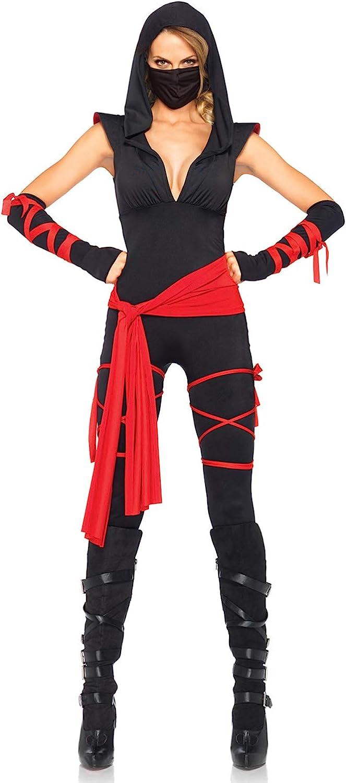 Gr/ö/ße S schwarz T/ödliches Ninja Kost/üm Damen Karneval Fasching LEG AVENUE 85087-5TL