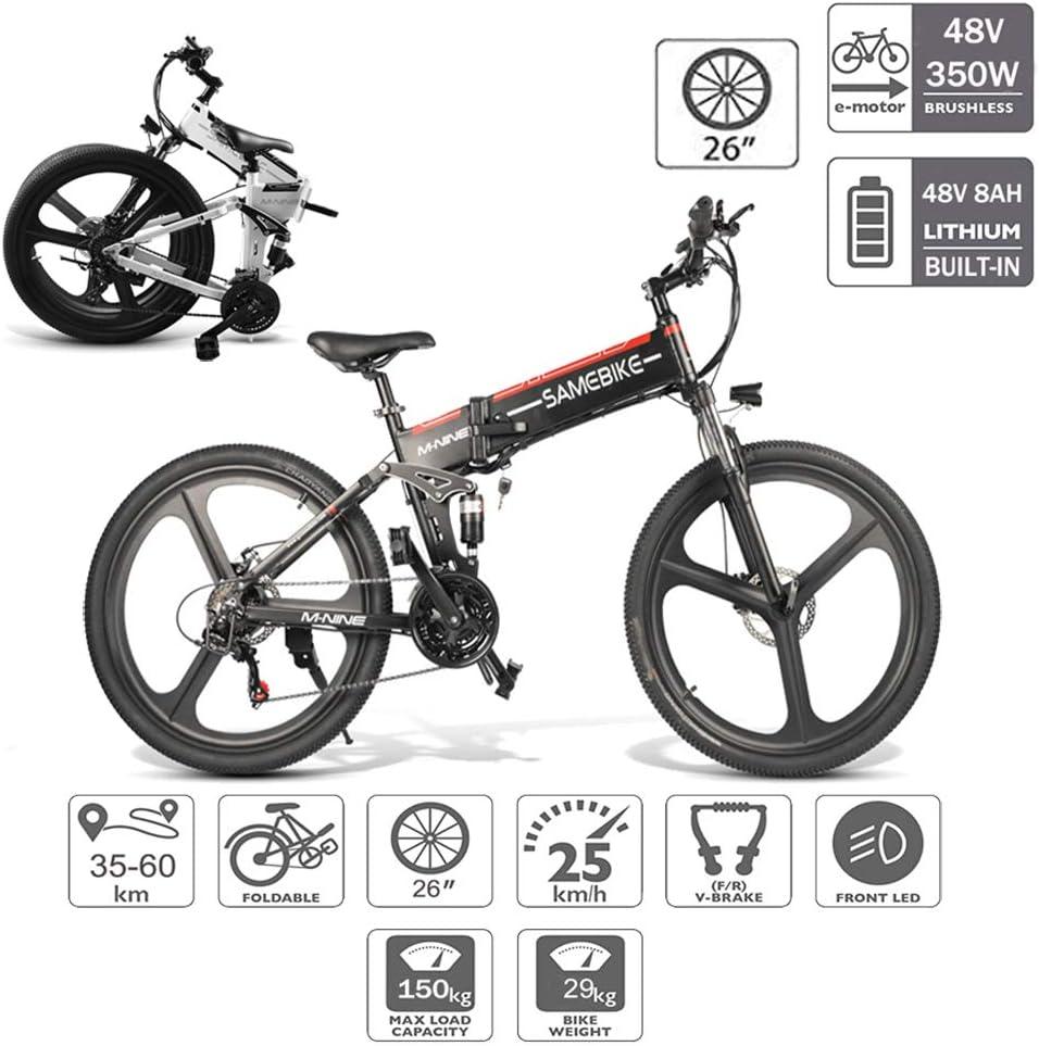Coolautoparts Bicicleta Eléctrica PLEGABLE 350W/500W 26 Pulgadas para Hombres Mujeres /Bicicleta de Montaña/ e-Bike Aluminio 48V 10AH Batería Shimano 21 Velocidades Frenos de Disco [EU Stock ]