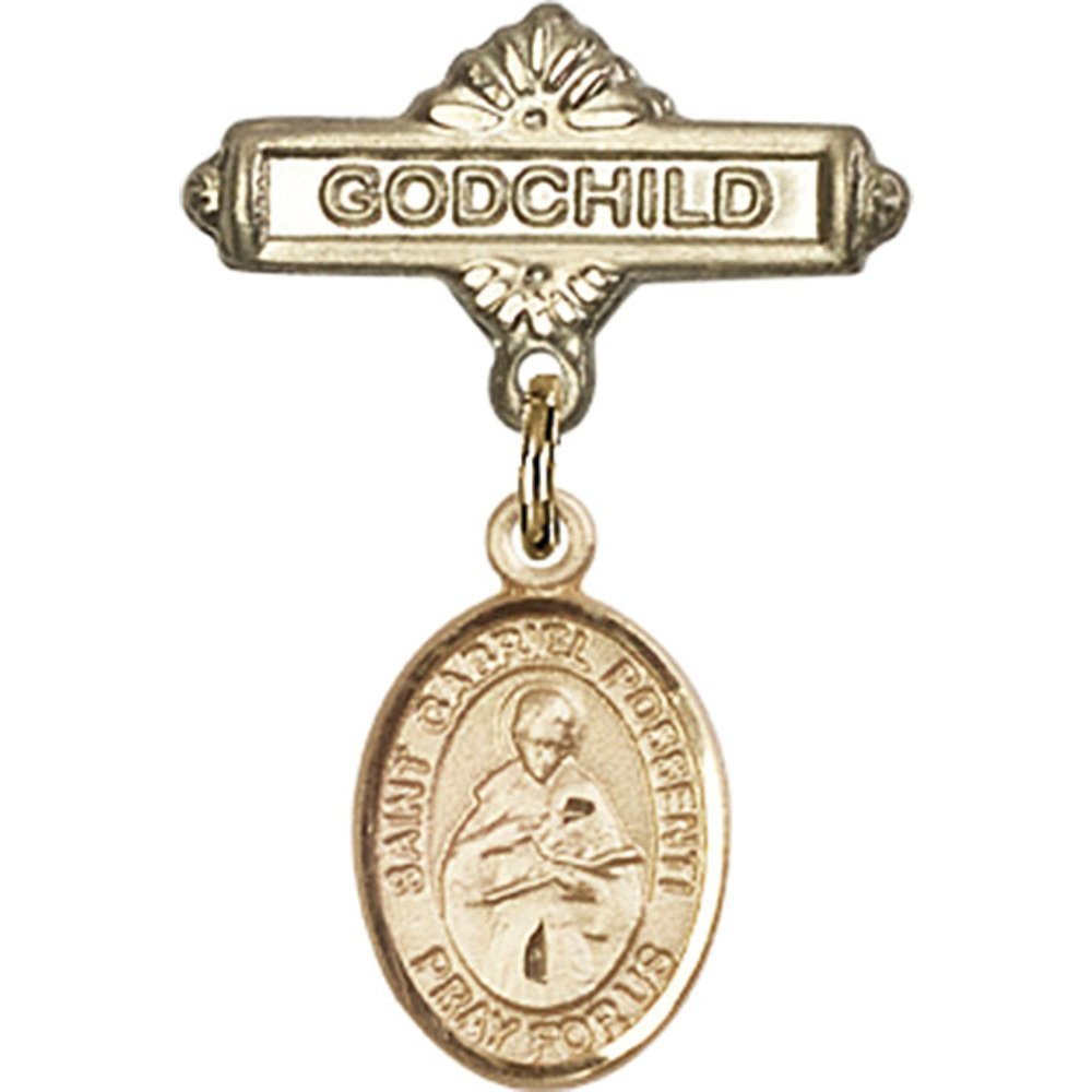 14kt Yellow Gold Baby Badge with St. Gabriel Possenti Charm and Godchild Badge Pin 1 X 5/8 inches