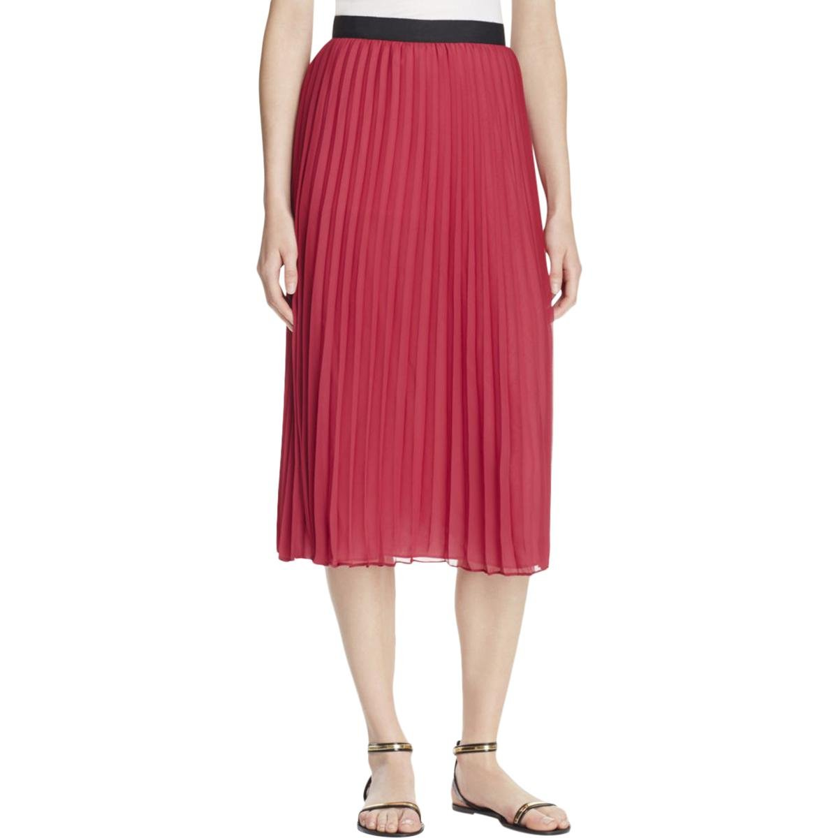 Likely Womens Ruffled Contrast Waist Band A-Line Skirt Red 0