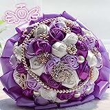 L&M Eternal Angel Wedding Bride Holding Flowers (Color : A4-21/Large Pearl Purple)