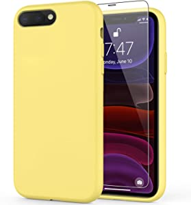 DEENAKIN iPhone 8 Plus Case,iPhone 7 Plus Case with Screen Protector,Soft Liquid Silicone Gel Rubber Bumper Cover,Slim Fit Shockproof Protective Phone Case for iPhone 7 Plus/iPhone 8 Plus Yellow