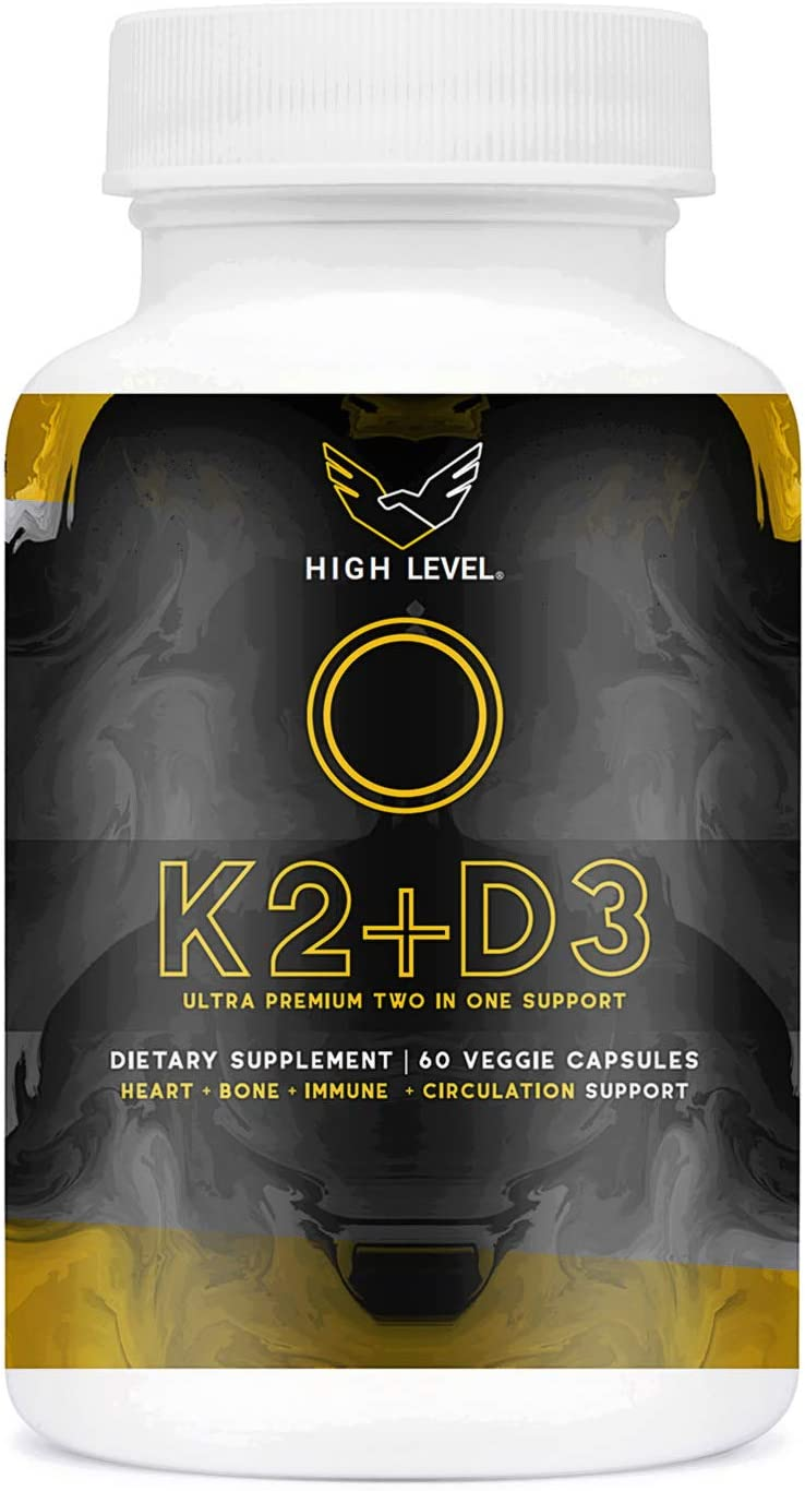 High Level Vitamin K2 (MK7) with D3 Ultra Premium Two in One Support Complex with BioPerine (Black Pepper) | 60 Veggie Capsules | 5000iu D3 Cholecalciferol, 100mcg K2 | Heart, Bone and Immune Health
