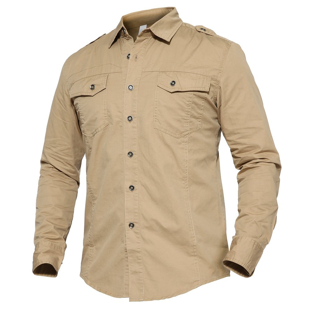 TACVASEN Men's Casual Button Down Breathable Solid Long Sleeve Shirt LXZLS-103