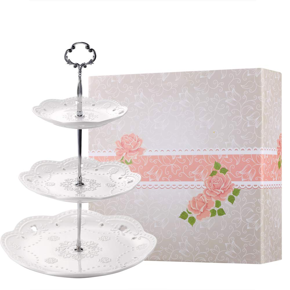 BonNoces 3-Tier Porcelain Embossed Cake Stand - Pure White Elegant Dessert Cupcake Stand - Pastry Serving Tray Platter for Tea Party, Wedding and Birthday