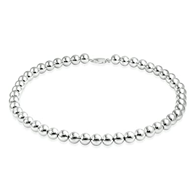 70d15cc07 Amazon.com: 10MM Shinny Plain Simple Round Ball Bead Strand Necklace For  Women 925 Sterling Silver 18 Inches: Chain Necklaces: Jewelry