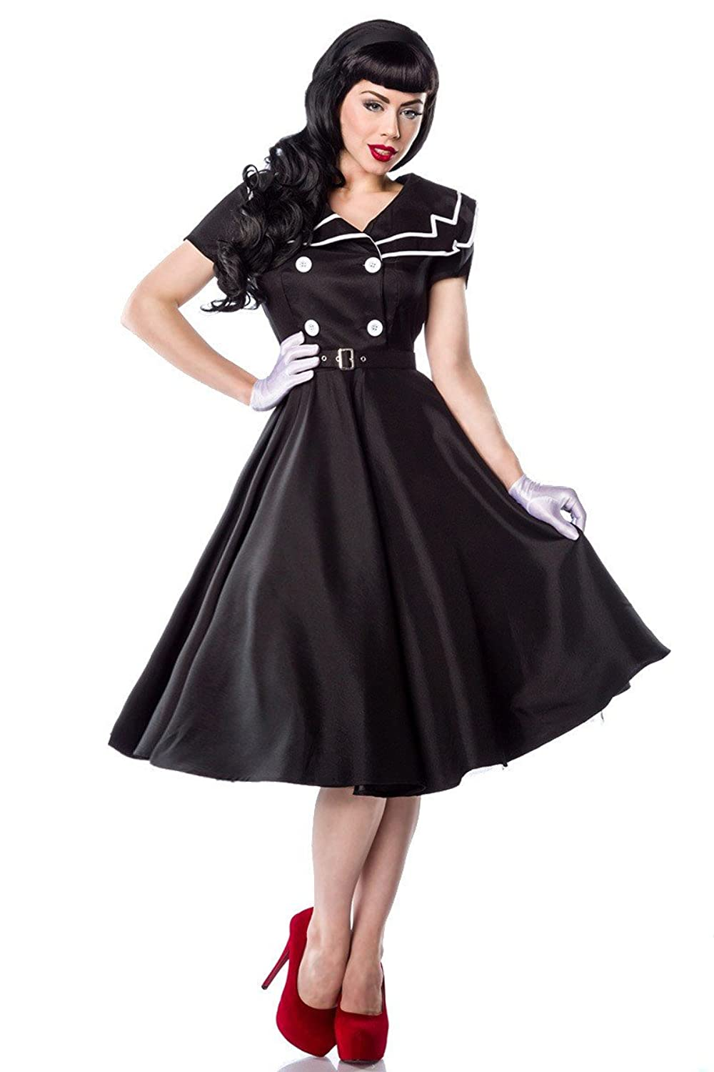 50s Rockabilly Sailor Dress Shawl Collar And Belt A12608