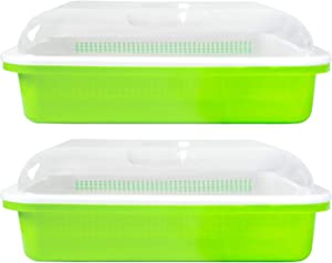 2 Sets Seed Sprouter Tray, Wheatgrass Grower with Lid Germination Kit Extra Small Hole for Seed Germination