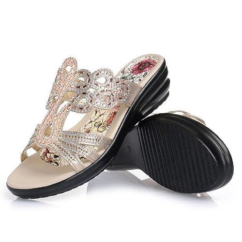 1545f0d7ff5ce2 Women s Wedge Sandals Summer Anti-Slip Platform Thick Bottom Slides Golden