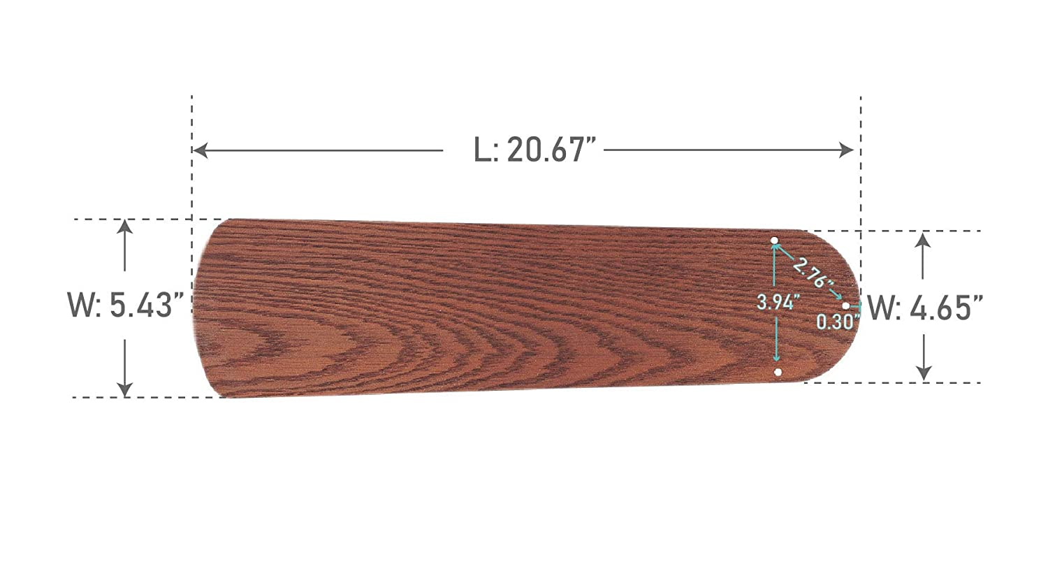 Craftmade BCD52P-WB6 Contractors Plus Fan Blades Replacement 52-Inch Walnut Set of 5