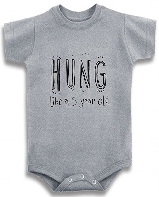 bbb4f8a41c Amazon.com  Gray Crew Neck Baby Tee Time Boys  Hung like a 5 year ...