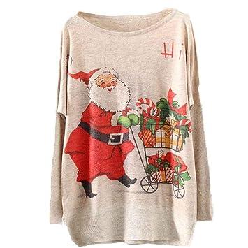 Women NEW Christmas Batwing Long Sleeve Loose Knit Blouse Knitwear Tops Sweater