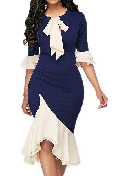 Suvimuga Mujeres Bowknot Bodycon Rizo Elástico Negocio Oficina Vestidos De Coctel Navy S