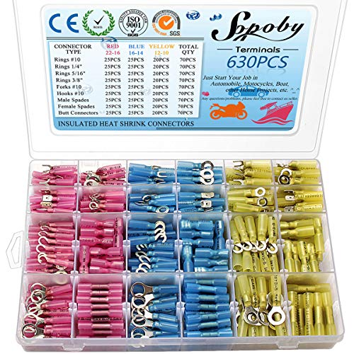 630PCS Heat Shrink Connectors, Sopoby Electrical Wire Connectors Crimp Connectors, Insulated Automotive Marine Waterproof Wire Terminal Kit, Ring Fork Hook Spade Butt Splices