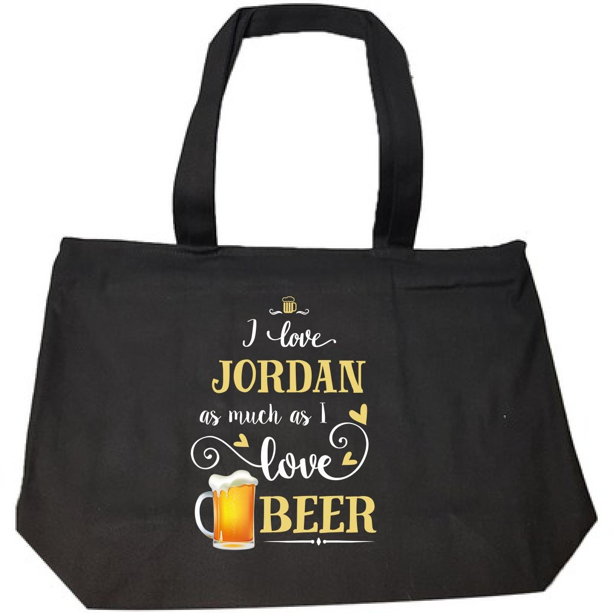 I Love Jordan As Much As I Love Beer Gift For Him - Tote Bag With Zip by Inked Creatively
