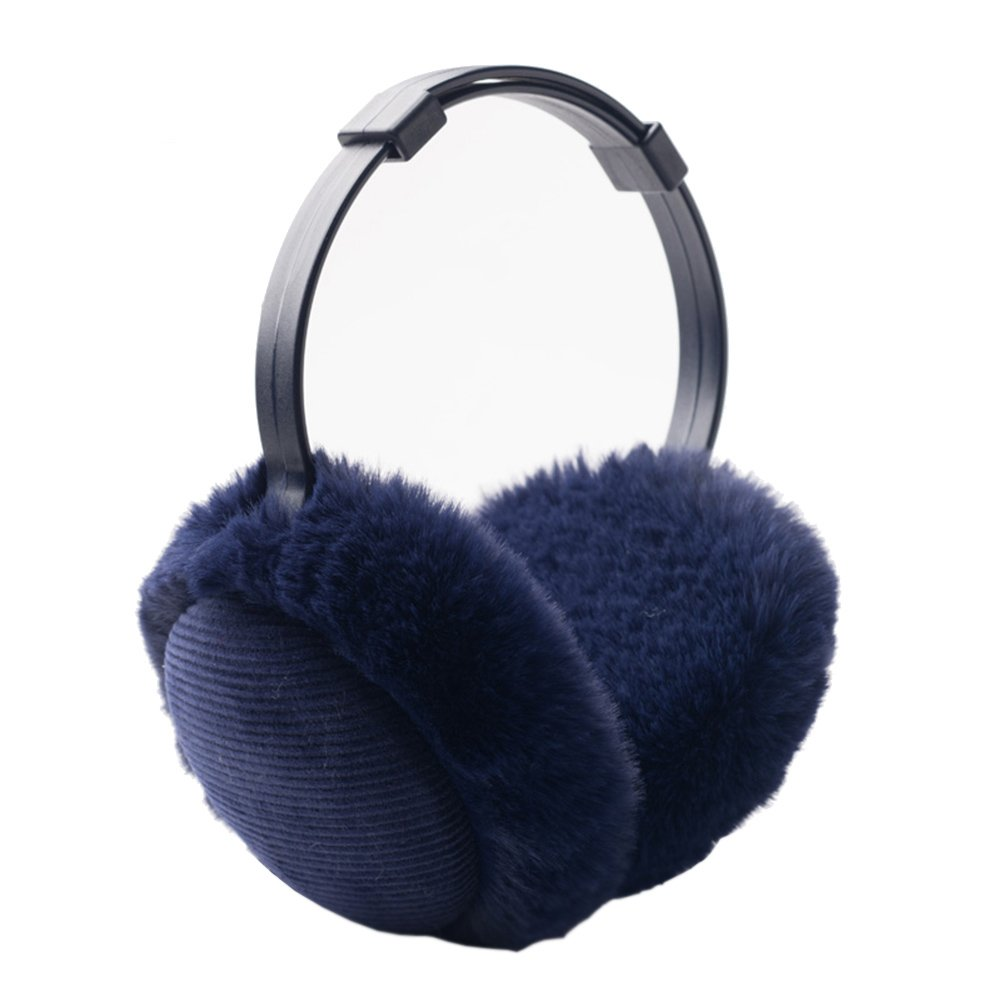 Women's Winter Warm Earmuffs Thickened Adjustable Plush Ear Cover Keep Ears Warm (Navy blue)