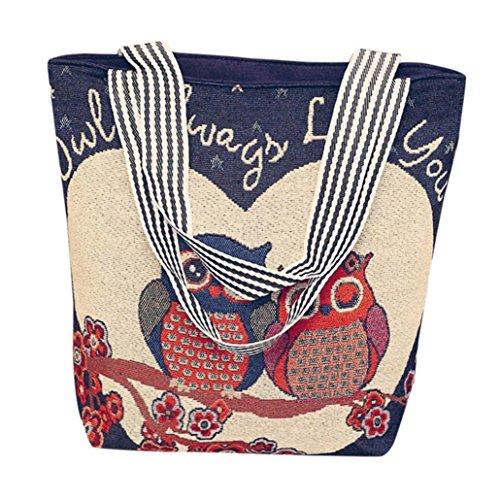 (Hot Sale! Women Versatile HandBag, Neartime Unisex Canvas Cartoon Fashion Owl Print Large Capacity Laptop Shoulder Messenger Bag (❤️33cm(L)×10cm(W)×32cm(H), G))