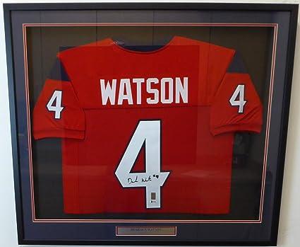 e2ca77a8ba9 HOUSTON TEXANS DESHAUN WATSON AUTOGRAPHED FRAMED RED JERSEY BECKETT BAS  STOCK  130319