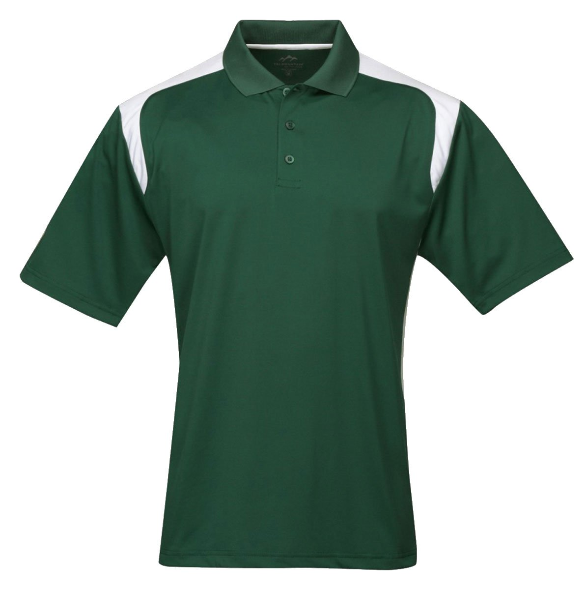 Tri-mountain Mens 100% Polyester UC Knit Polo Shirt. 145TM - FOREST GREEN / WHITE_3XL