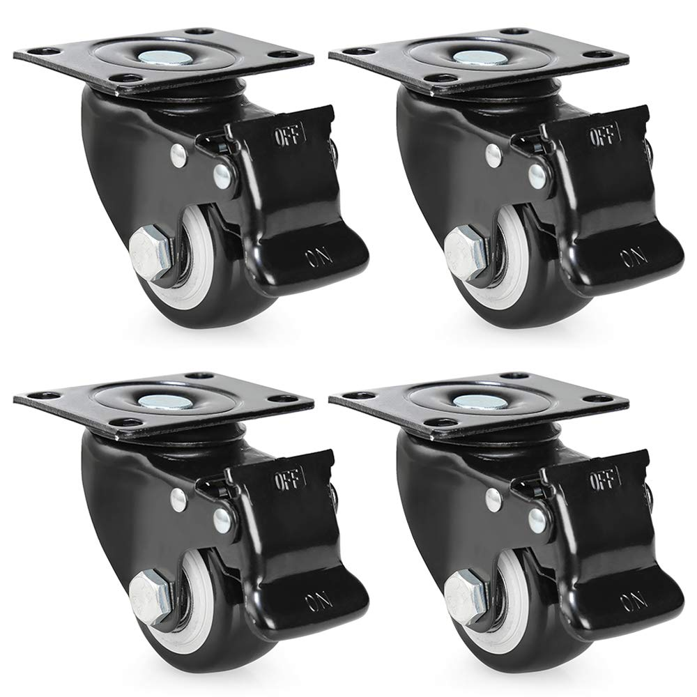 2.5'' Swivel Caster Wheels with Safety Dual Locking Brake,Heavy Duty Polyurethane PU Rotating Wheels Replacement with 360 Degree Top Plate,Black,Set of 4(2.5 Inches,Black,with Brake)