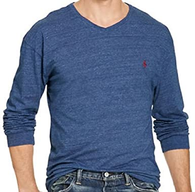 459536c0da903 RALPH LAUREN Polo Men's Big & Tall Cotton Long Sleeve V-Neck T-Shirt (2XB,  Classic Royal Heather) | Amazon.com