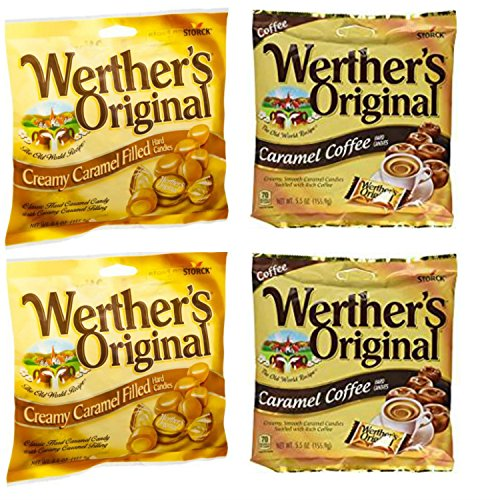 Werthers Original Candy Combo with Werthers Original Caramel Coffee Candy and Creamy Caramel Filled Candy. Easy Shopping For 2 Popular Candy Alternatives. Vegetarian Friendly!