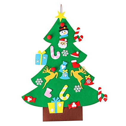Christmas Tree Illustration.Aerwo 3ft Diy Felt Christmas Tree Set With 26 Detachable Ornaments New Year Xmas Gifts For Kids Door Wall Hanging Decor