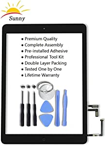 iPad 5 iPad air 1st Model A1474 A1475 Black Digitizer Replacement Screen Replacement Glass Assembly - Includes Home Button Camera Holder Pre Installed Adhesive Stickers and Professional Tool Kit