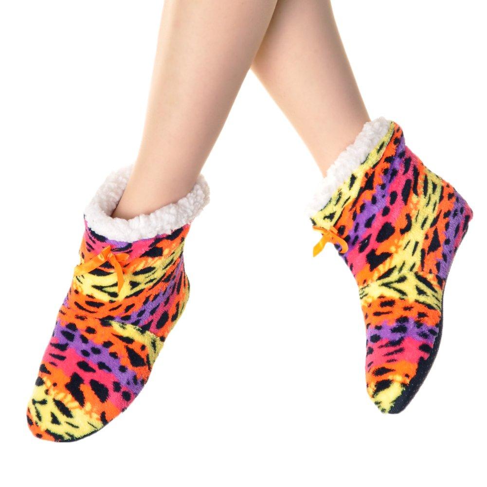 Angelina Neon Fleece Lined Cozy Bootie Socks #1165_Leopard